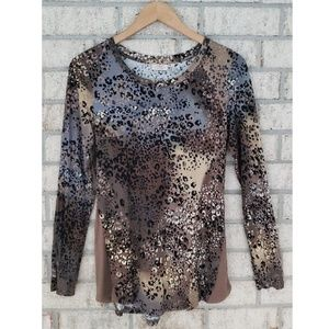 LOGO by Lori Goldstein Multicolor Animal Print Top